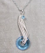 Futuristic Jewelry - Aquamarine Crystal Donut Wave Pendant by Heather Jordan