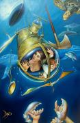 Shark Posters - AQUARIA RISING from Mask of the Ancient Mariner Poster by Patrick Anthony Pierson