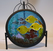Fused Glass Prints - Aquarium - wall hanging Print by Lisa Kohn