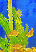 Artistic Fish Abstraction Framed Prints - Aquarium Art 4 Framed Print by Steve Ohlsen