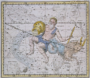 Maps Painting Prints - Aquarius and Capricorn Print by A Jamieson