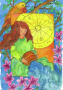 Astrology Drawings Posters - Aquarius Poster by Cathie Richardson