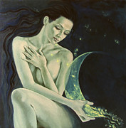 Live Art Painting Prints - Aquarius from  Zodiac signs series Print by Dorina  Costras