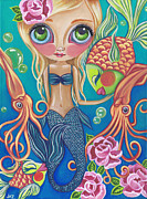 Beach Roses Prints - Aquatic Mermaid Print by Jaz Higgins