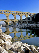 Typical Framed Prints - Aqueduc du Pont du Gard.Provence Framed Print by Bernard Jaubert