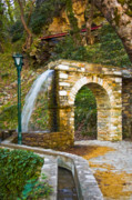 Pelion Framed Prints - Aqueduct and water falling Framed Print by George Messaritakis
