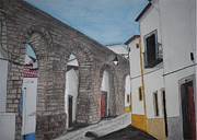 Old Houses Drawings - Aqueduct in Evora  by Silvia Louro