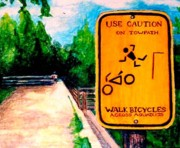 Biking Drawings - Aqueduct by Kimberly Simon