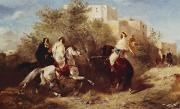 Arab Painting Framed Prints - Arab Horsemen Framed Print by Eugene Fromentin