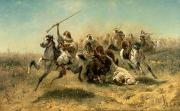 Arab Horses Prints - Arab Horsemen on the attack Print by Adolf Schreyer