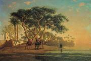 Arab Painting Prints - Arab Oasis Print by Narcisse Berchere