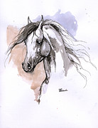 Horse Drawing Originals - Arabian Horse Ink Drawing 1 by Angel  Tarantella