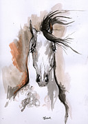 Horse Drawing Originals - Arabian Horse Ink Drawing 2 by Angel  Tarantella
