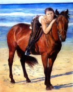 Bay Horse Drawings - Arabian Horse Riding On The Beach Portrait by Olde Time  Mercantile