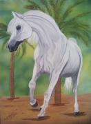 White Horse Painting Originals - Arabian King by Debbie LaFrance