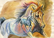 Galloping Paintings - Arabian reflection by Jana Goode