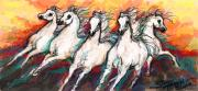 Racing Mustangs Prints - Arabian Sunset Horses Print by Stacey Mayer