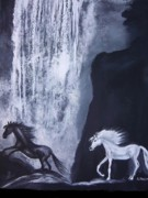 Waterfalls Paintings - Arabians At Night by Aleta Parks