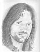 Lord Drawings Metal Prints - Aragorn Metal Print by Amy Jones