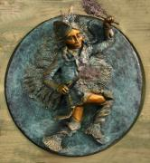 Boy Reliefs Framed Prints - Arapaho Dancer from Snowy Range Life Framed Print by Dawn Senior-Trask