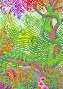 Caribbean Paintings - Arbai and Iguana by Jennifer Baird