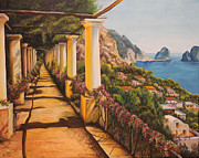 Europe Painting Framed Prints - Arbor Walk in Capri Framed Print by Charlotte Blanchard
