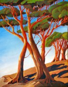 Spirit Trees Painting Metal Prints - Arbutus Trees Metal Print by Santo De Vita