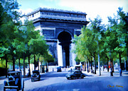 Signed Prints - Arc de Triomphe 1954 Print by Chuck Staley