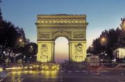 City Streets Posters - Arc De Triomphe And The  Champs-elysees Poster by Richard Nowitz