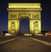 Neo-classical Framed Prints - Arc De Triomphe At Night Framed Print by Axiom Photographic