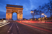 Long Street Framed Prints - Arc De Triomphe At Night Framed Print by Martin Child