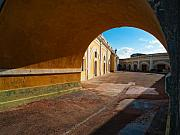 Archways Posters - Arch and Courtyard El Morro Fort San Juan Puerto Rico Poster by George Oze