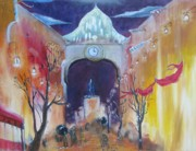 Scarves Painting Originals - Arch and the Red Scarves by Dawn Van Ness