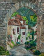 Village In France Posters - Arch Of Saint-Cirq-Lapopie Poster by Charlotte Blanchard