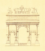 Nobody Drawings Posters - Arch of Septimius Severus in Rome Italy Poster by Pictus Orbis Collection