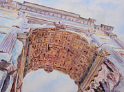 Perspective Painting Originals - Arch of Titus One by Jenny Armitage