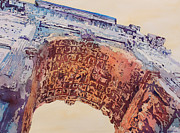 Perspective Painting Originals - Arch of Titus Two by Jenny Armitage