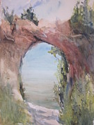 Northern Michigan Paintings - Arch Rock Mackinac Island by Sandra Strohschein