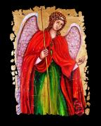 Icon Mixed Media Posters - Archangel Gabriel fresco Poster by OLena Art