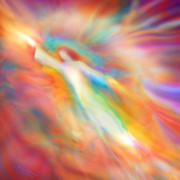 Archangel Metal Prints - Archangel Jophiel Illuminating the Ethers Metal Print by Glenyss Bourne