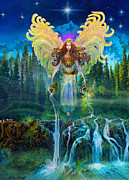 Angel Art Painting Posters - Archangel Jophiel Poster by Steve Roberts