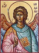 Icon Byzantine Painting Posters - Archangel Michael Poster by Julia Bridget Hayes
