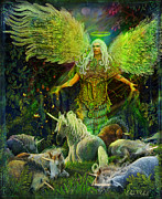Unicorns Posters - Archangel Raphael Protector of Unicorns Poster by Steve Roberts