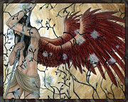 Climbing Mixed Media Posters - Archangel Uriel Poster by Angela Sasser