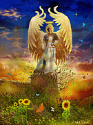 Angel Art Painting Posters - Archangel Uriel Poster by Steve Roberts