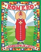 Religious Art Mixed Media Prints - Archbishop Romero Icon Print by David Raber
