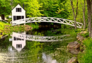 New England Villages Framed Prints - Arched Bridge-Somesville Maine Framed Print by Thomas Schoeller