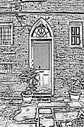 Photocopy Metal Prints - Arched Doorway French Quarter New Orleans Photocopy Digital Art Metal Print by Shawn OBrien