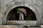 Flowerpot Posters - Arched Fountain Poster by Joe Bonita