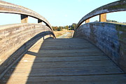 Wood Bridges Metal Prints - Arched Pedestrian Bridge At Martinez Regional Shoreline Park in Martinez California . 7D10518 Metal Print by Wingsdomain Art and Photography